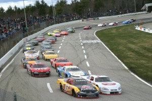 The field takes the green at the ACT Late Model Season Opener at Lee USA Speedway in 2013. (Photo credit: Alan Ward)