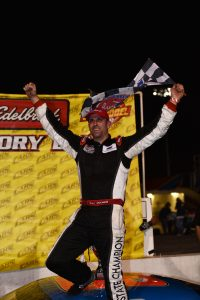 Deac McCaskill celebrates his first career win at Hickory Motor Speedway after Saturday's Cloer Construction 300 for the CARS Racing Tour. It was McCaskill's third career CARS Tour win and gives him a 13-point advantage going into the season finale on November 12th at Southern National Motorsports Park.